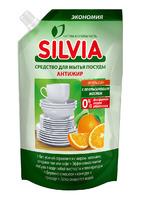 ЗАСІБ ДЛЯ МИТТЯ ПОСУДУ «SILVIA» АНТИЖИР «АПЕЛЬСИН» з апельсиновим маслом, 500 мл (DOY-PACK)